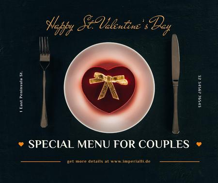 Ontwerpsjabloon van Facebook van Valentine's Day Dinner with Heart Box