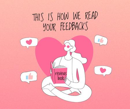 Ontwerpsjabloon van Facebook van Customer Service manager in love with Reviews