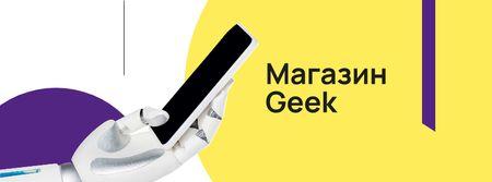 Robot hand holding smartphone Facebook cover – шаблон для дизайна