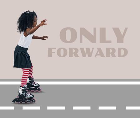 Cute Little Girl riding Roller Skates Facebook Tasarım Şablonu