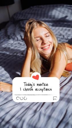 Plantilla de diseño de Mental Health Inspiration with Happy Woman in Bed Instagram Story