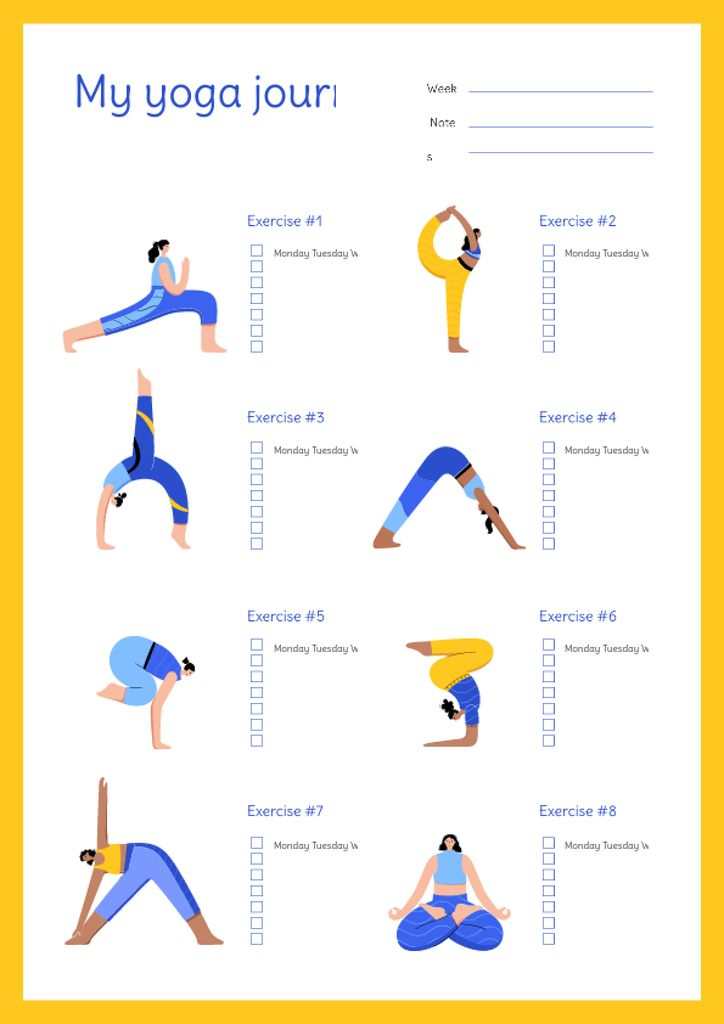 Yoga Journal with Woman doing Exercise Schedule Planner – шаблон для дизайна