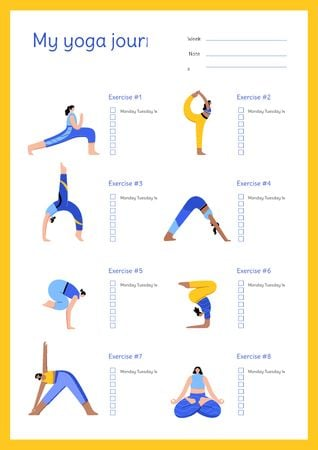 Plantilla de diseño de Yoga Journal with Woman doing Exercise Schedule Planner