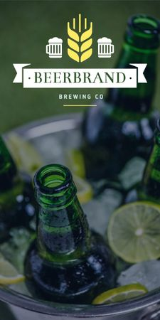 Plantilla de diseño de Brewing company promotion with Beer bottles Graphic