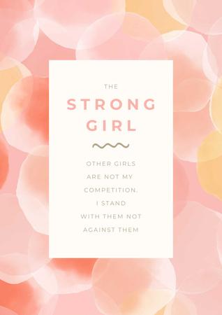 Girl Power Inspiration with Pink Bubbles Poster Modelo de Design