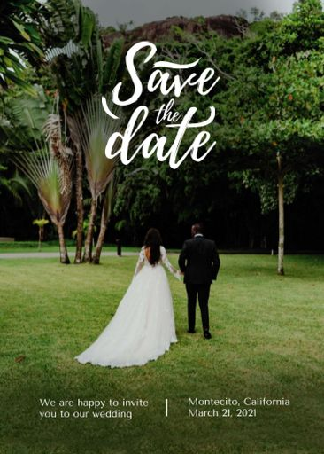 Save The Date Event Announcement With Beautiful Newlyweds