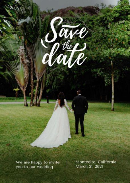 Szablon projektu Save the Date Event Announcement with Beautiful Newlyweds Invitation