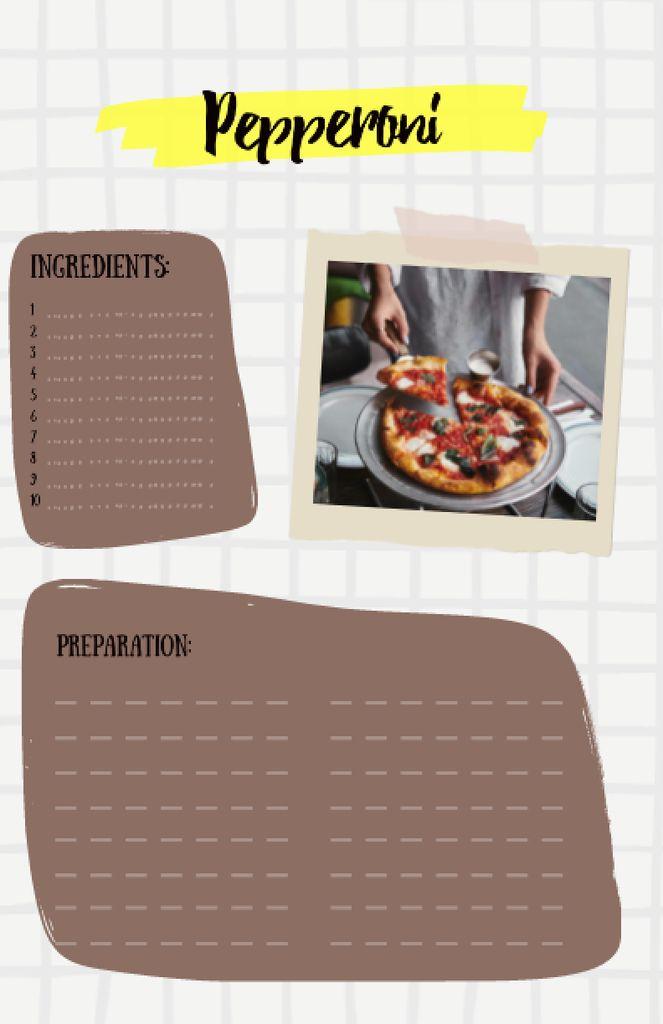 Delicious Pepperoni Pizza on Plate Recipe Card Tasarım Şablonu