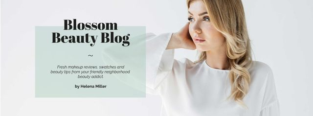 Beauty Blog Ad Attractive Woman in White Facebook cover Tasarım Şablonu