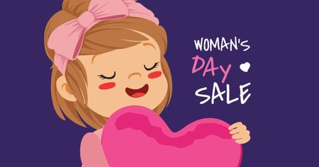 Ontwerpsjabloon van Facebook AD van Women's Day Sale with Girl holding Heart