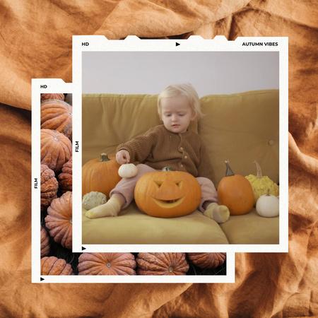 Halloween Celebration with Little Boy and Pumpkins Animated Post – шаблон для дизайна