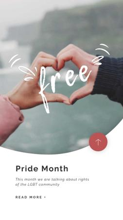 Plantilla de diseño de Pride Month Hands showing Heart  Instagram Video Story