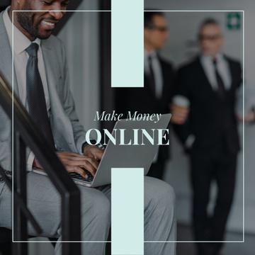 Man working Online on laptop