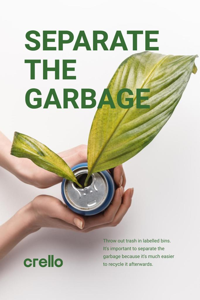 Szablon projektu Recycling Concept with Woman Holding Plant in Can Pinterest