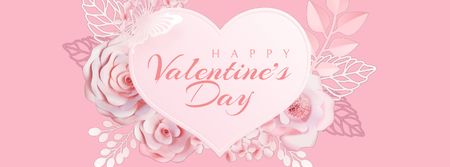 Template di design Pink heart with flowers for Valentine's Day Facebook Video cover
