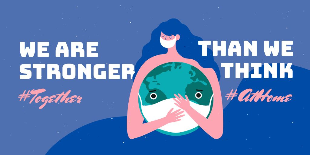 #TogetherAtHome Inspirational Quote with Girl holding Earth in mask — Maak een ontwerp