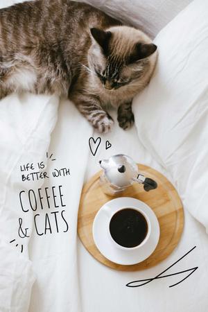 Platilla de diseño Cat with Morning Coffee Pinterest