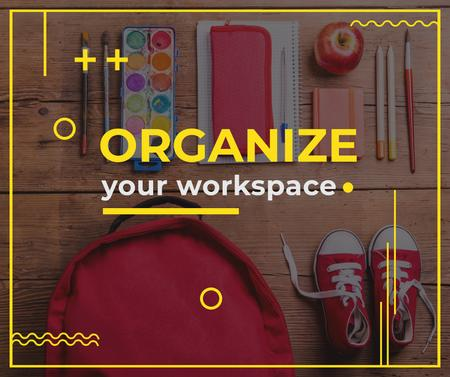 Plantilla de diseño de School Stationery at workplace Facebook