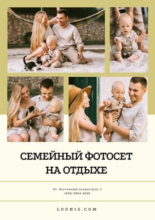 Photo Session Offer with Happy Family with Baby Poster – шаблон для дизайна