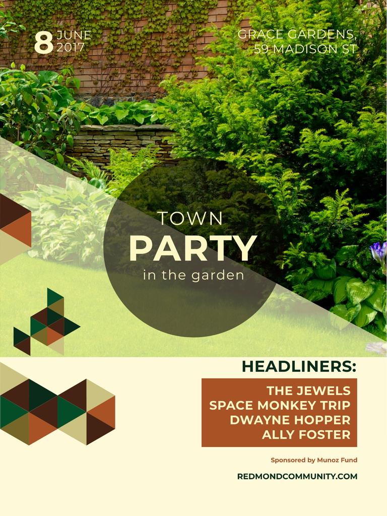 Town Party in Garden invitation with backyard Poster US Design Template