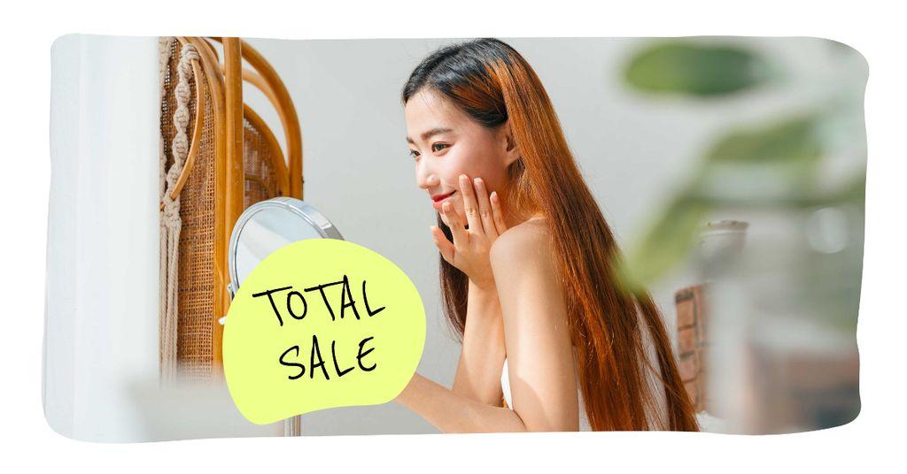 Beautiful Woman preparing for Makeup Facebook AD Design Template