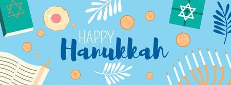 Designvorlage Happy Hanukkah Bright Greeting für Facebook cover