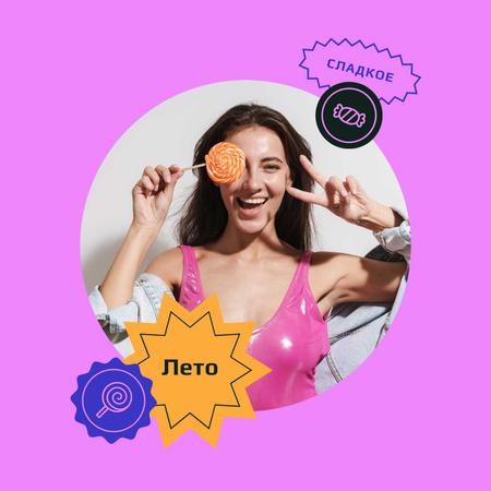 Summer Inspiration with Cute Girl holding Lollipop Instagram – шаблон для дизайна