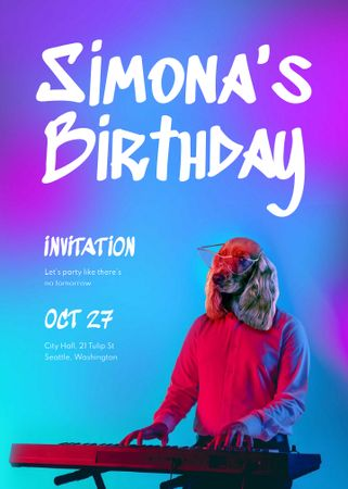 Template di design Birthday Party Announcement with Dog playing on Synthesizer Invitation