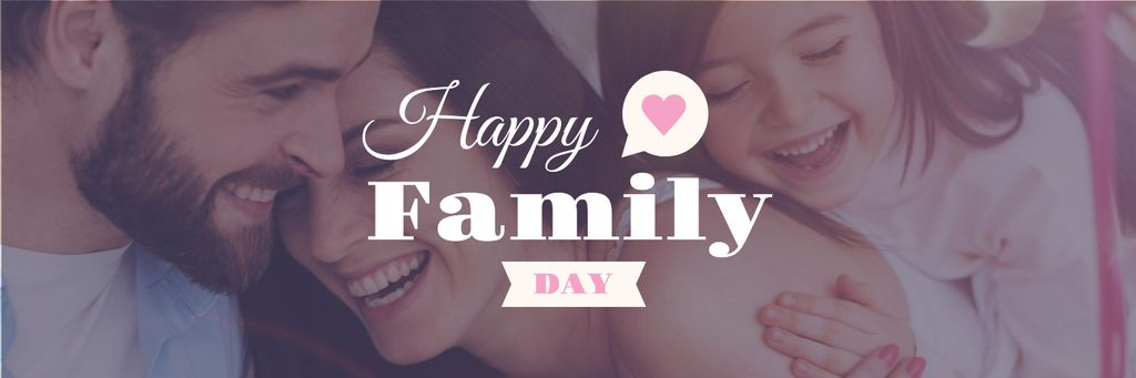 Happy Family Day Parents with Daughter — Créer un visuel