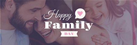 Happy Family Day Parents with Daughter Twitterデザインテンプレート