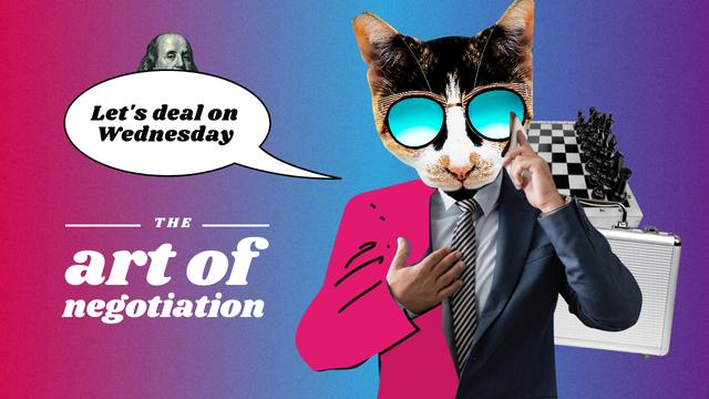 Funny Businessman with Cat's Head Youtube Thumbnail Design Template