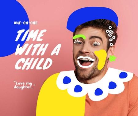 Funny Illustration of Man in Clown Costume Facebook – шаблон для дизайна