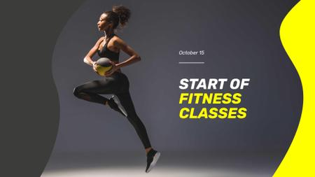 Designvorlage Fitness Classes Ad with Athlete Woman für FB event cover