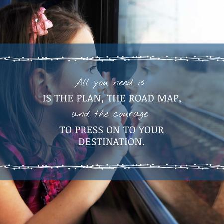 Motivational Quote Girl Looking in Train Window Instagram Design Template