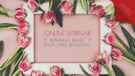 Webinar announcement in Tulips Frame FB event cover Design Template