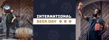 Beer Day Announcement with Brewer Facebook cover Modelo de Design