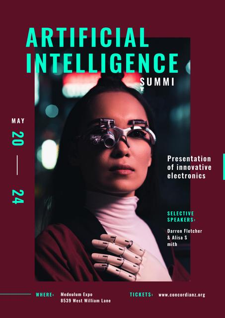 Technological summit Woman in innovational glasses Posterデザインテンプレート