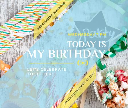 Birthday Party Invitation Bows and Ribbons Facebook – шаблон для дизайну