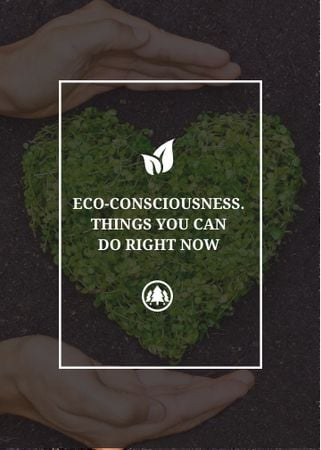 Eco Quote on Heart of Leaves Invitation – шаблон для дизайна
