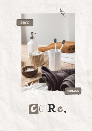 Eco Concept with Wooden Brushes in Basket Poster Modelo de Design