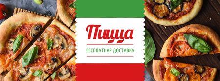 Pizza tasty slices for Delivery offer Facebook cover – шаблон для дизайна
