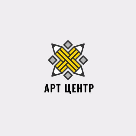 Arts Hub Ad with Crossed Pencils in Yellow Animated Logo – шаблон для дизайна