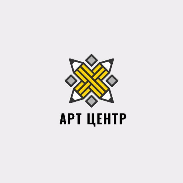 Arts Hub Ad with Crossed Pencils in Yellow Animated Logo – шаблон для дизайна