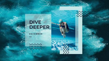Inspirational Phrase with Swimmer in Swimming Pool FB event cover Design Template