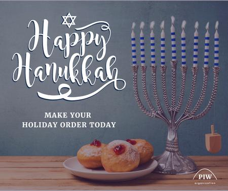 Template di design Happy Hanukkah Greeting with Menorah Facebook