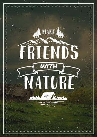 Plantilla de diseño de Nature Quote Scenic Mountain View Flayer