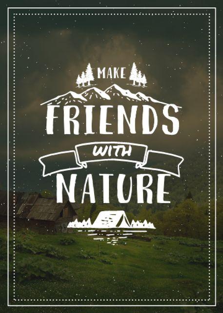 Plantilla de diseño de Nature Quote Scenic Mountain View Flayer