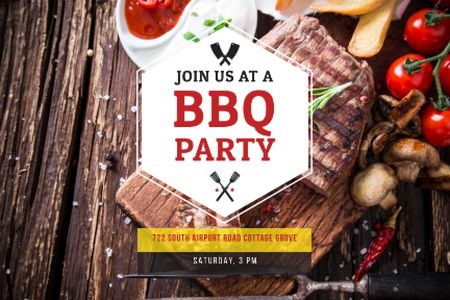 BBQ party Announcement Gift Certificate Design Template