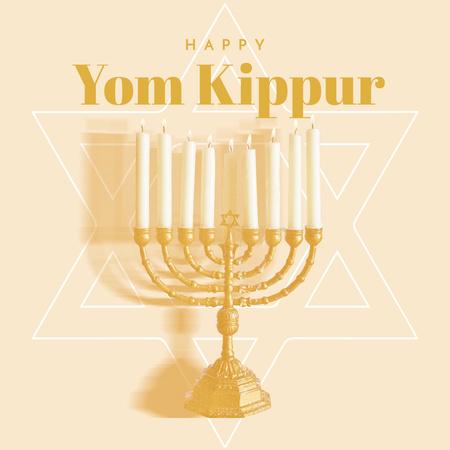 Ontwerpsjabloon van Instagram van Yom Kippur Holiday Greeting with Festive Menorah