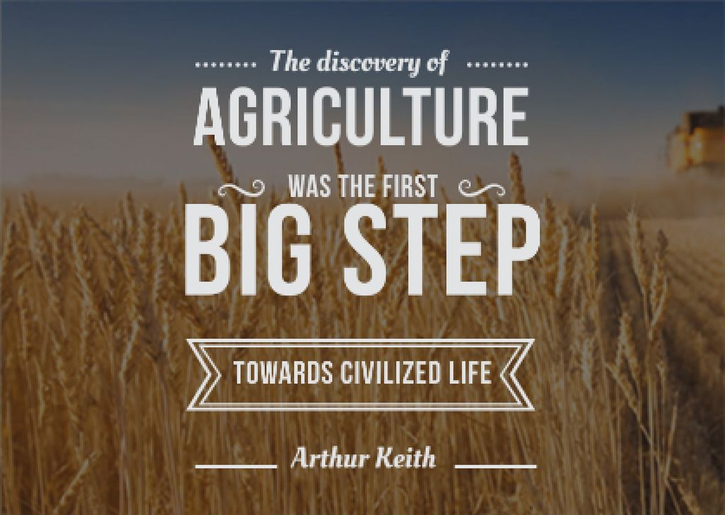 Agricultural quote with field of wheat Card – шаблон для дизайна